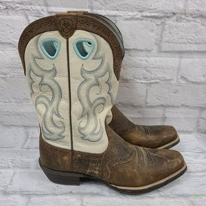 Ariat White & Blue Teal Rawhide Square Toed Boots
